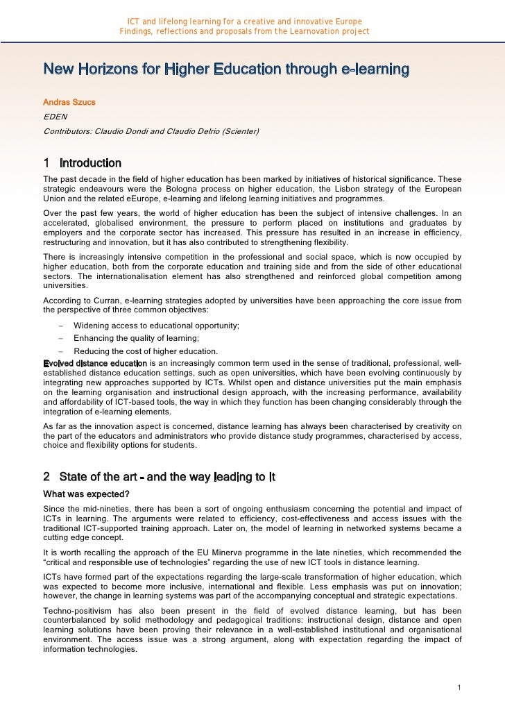 ICT and lifelong learning for a creative and innovative Europe                     Findings, reflections and proposals fro...
