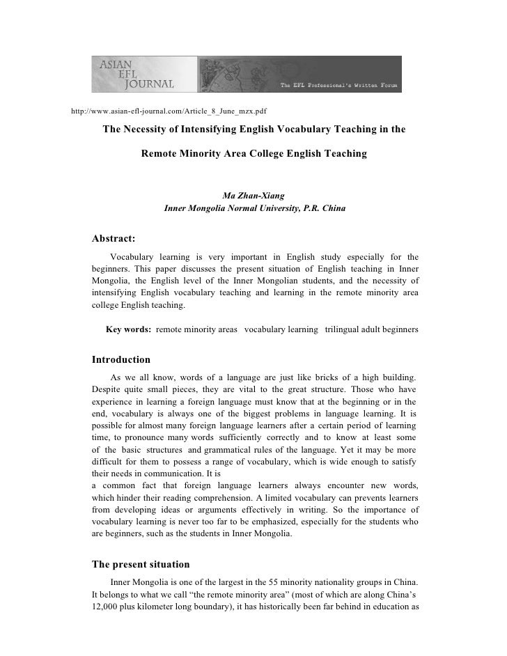 http://www.asian-efl-journal.com/Article_8_June_mzx.pdf          The Necessity of Intensifying English Vocabulary Teaching...