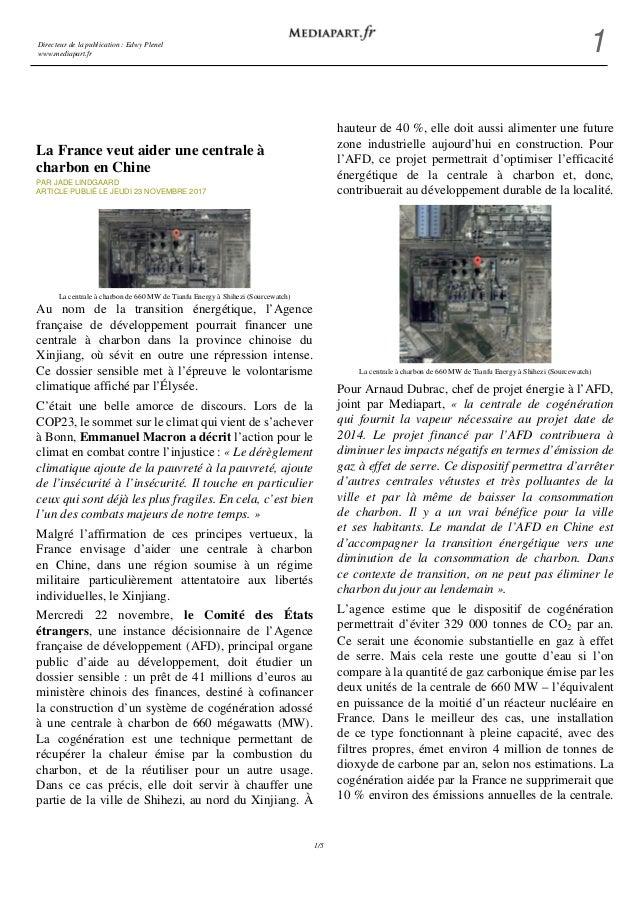 Directeur de la publication : Edwy Plenel www.mediapart.fr 1 1/5 La France veut aider une centrale à charbon en Chine PAR ...