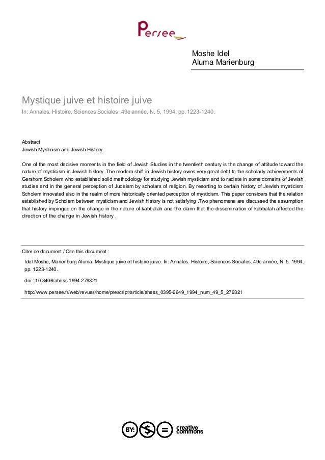Moshe IdelAluma MarienburgMystique juive et histoire juiveIn: Annales. Histoire, Sciences Sociales. 49e année, N. 5, 1994....