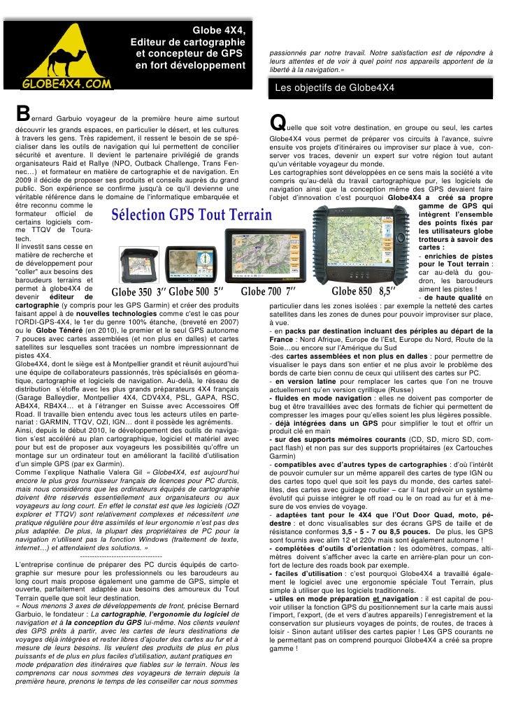 Globe 4X4,                                     Editeur de cartographie                                      et concepteur ...