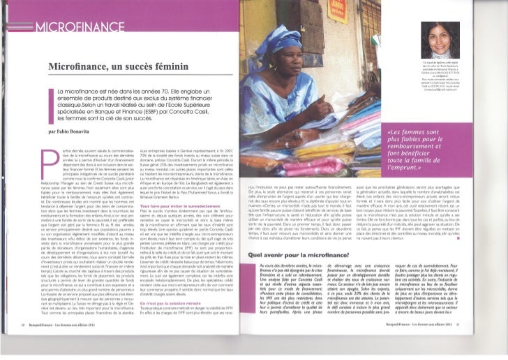 Article on Microfinance (published in the magazine Banque et Finance)