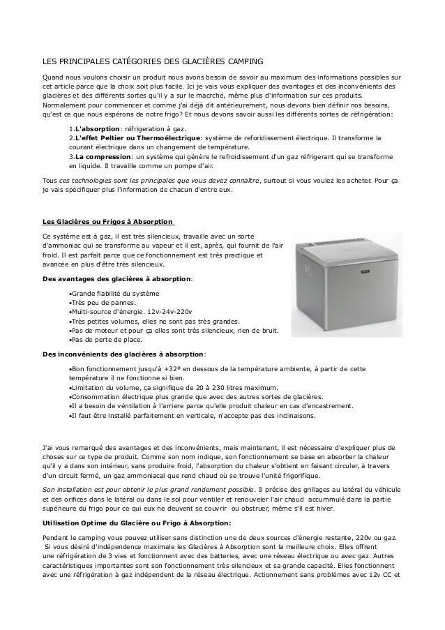 LES PRINCIPALES CATÉGORIES DES GLACIÈRES CAMPING Quand nous voulons choisir un produit nous avons besoin de savoir au maxi...
