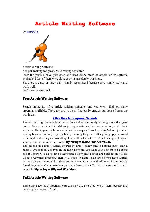 Article Writing Softwareby Rob ForeArticle Writing SoftwareAre you looking for great article writing software?Over the yea...