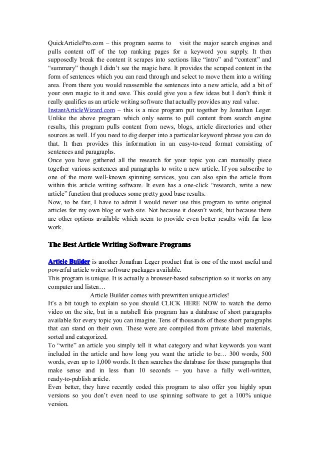 Article builder software free download