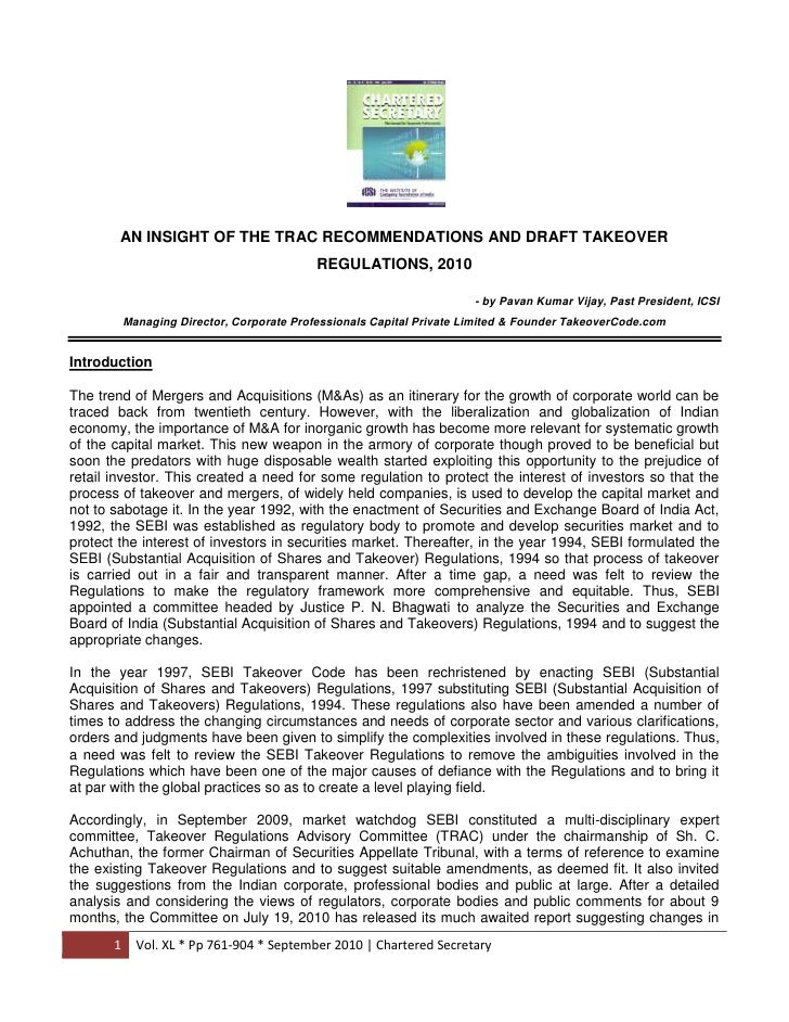 AN INSIGHT OF THE TRAC RECOMMENDATIONS AND DRAFT TAKEOVER REGULATIONS, 2010<br />- by Pavan Kumar Vijay, Past President, I...