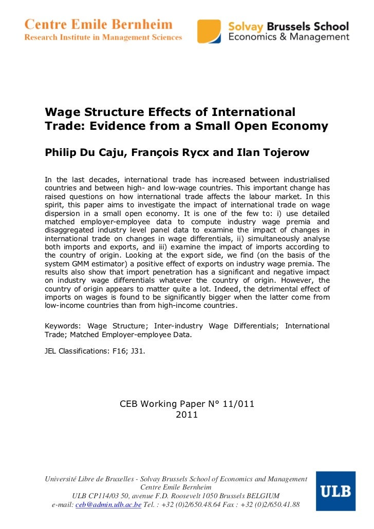 Wage Structure Effects of InternationalTrade: Evidence from a Small Open EconomyPhilip Du Caju, François Rycx and Ilan Toj...