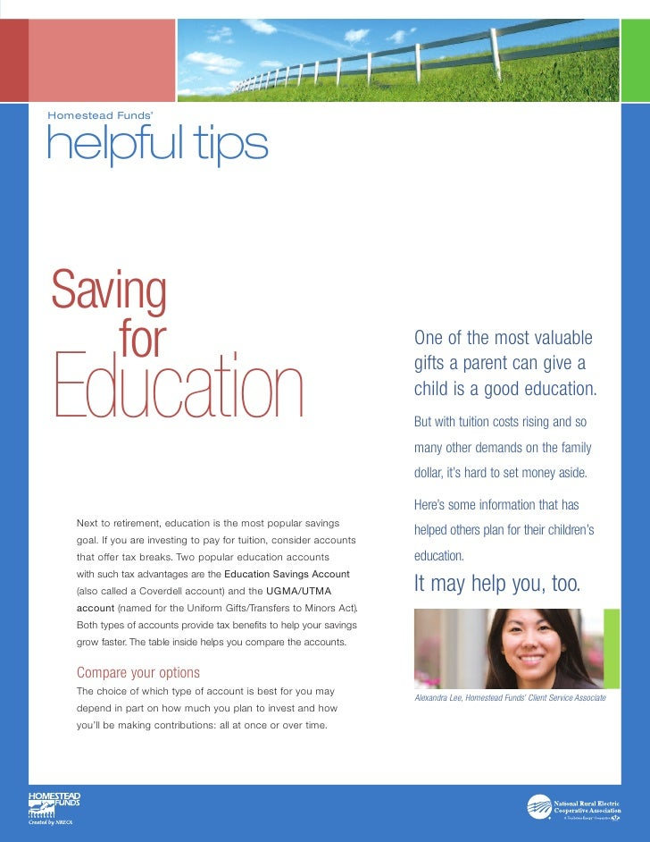 Homestead Funds'   helpful tips   Saving     for                                                                One of the...
