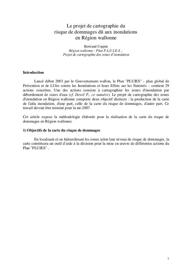 Le projet de cartographie du                    risque de dommages dû aux inondations                              en Régi...