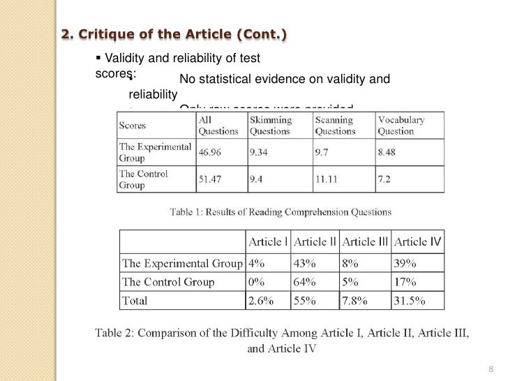 2. Critique of the Article (Cont.)       Validity and reliability of test      scores:•        No statistical evidence on...