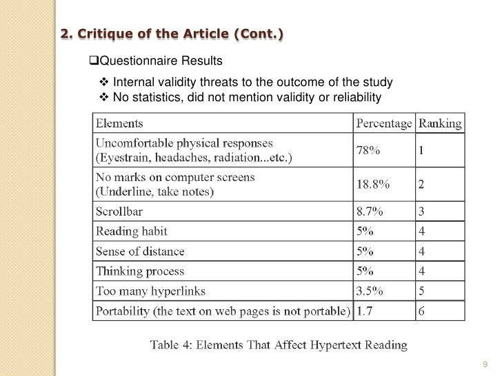 2. Critique of the Article (Cont.)      Questionnaire Results       Internal validity threats to the outcome of the stud...