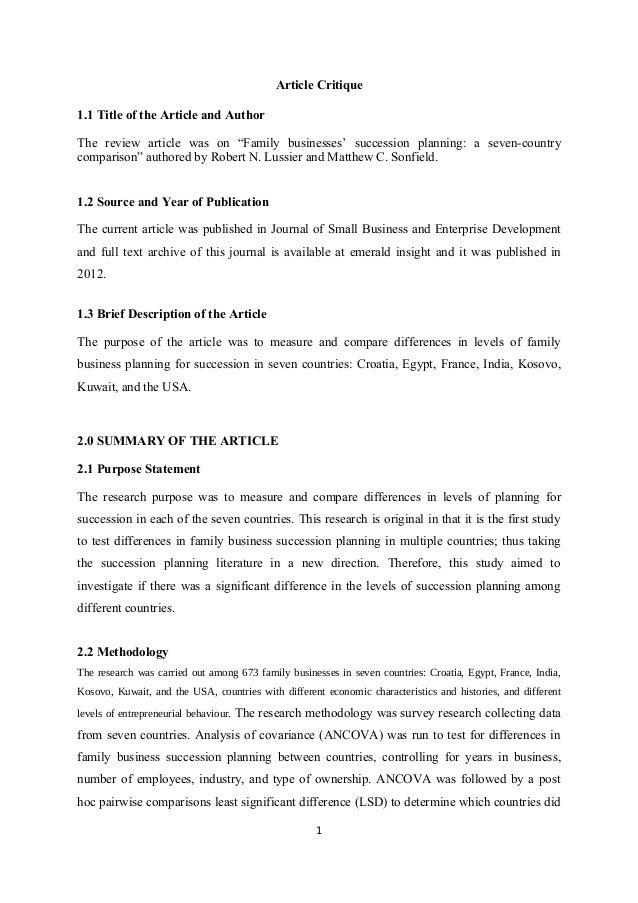 critique literature review journal article