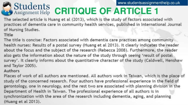 assignment 1 article critque Preview standards resources & preparation instructional plan related  resources comments (1) overview featured resources from theory to  practice.