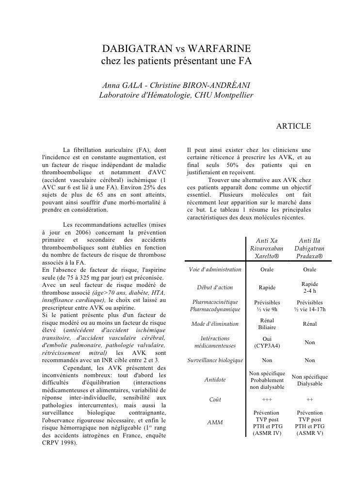 DABIGATRAN vs WARFARINE                       chez les patients présentant une FA                         Anna GALA - Chri...