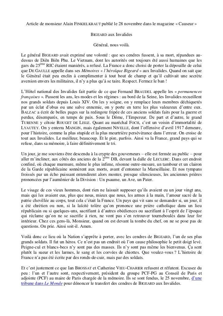 Article de monsieur Alain FINKIELKRAUT publié le 28 novembre dans le magazine « Causeur »                                 ...