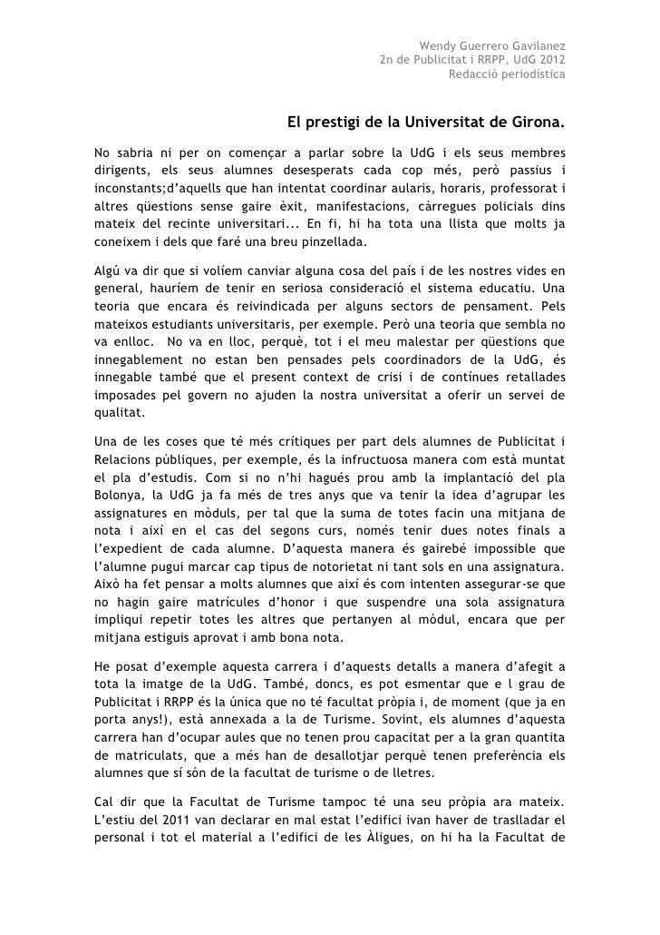 El Prestigi De La Universitat De Girona