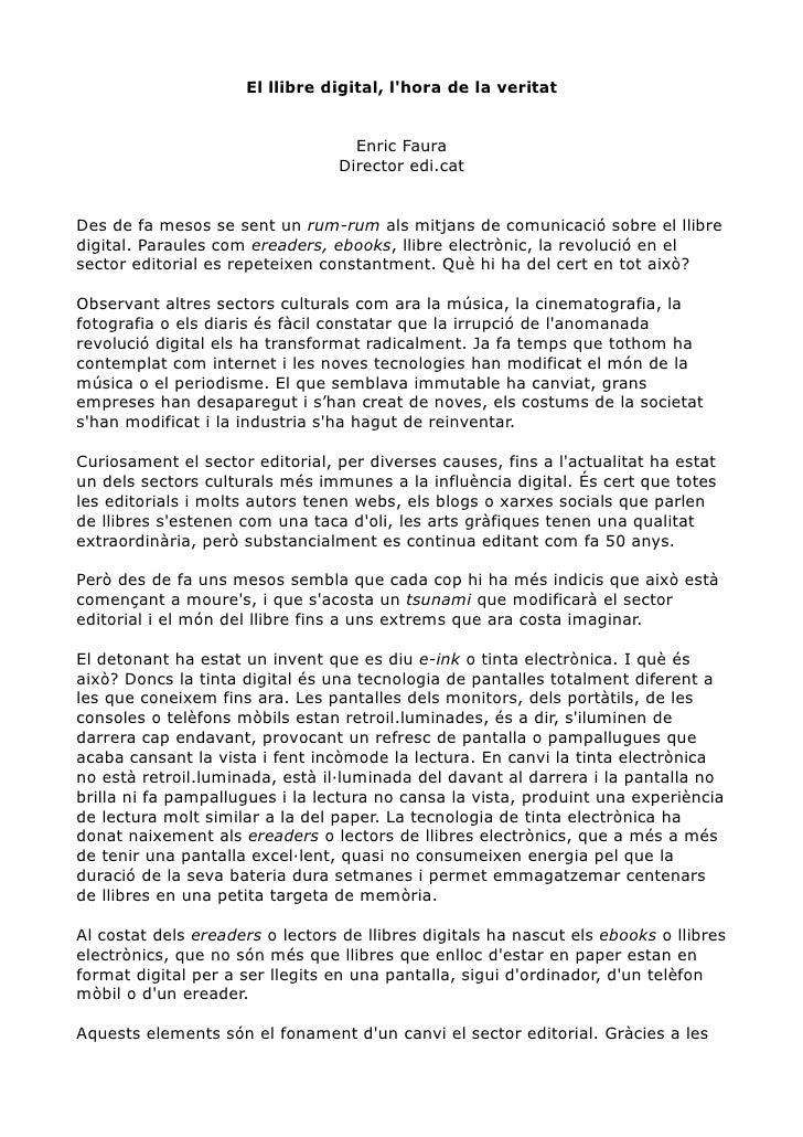 El llibre digital, l'hora de la veritat                                      Enric Faura                                  ...