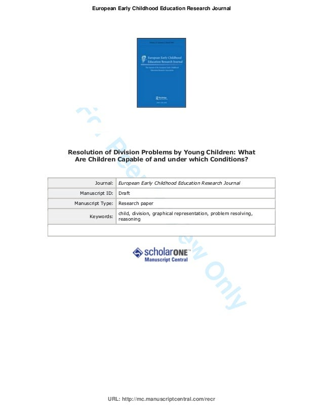 ForPeerReviewOnlyResolution of Division Problems by Young Children: WhatAre Children Capable of and under which Conditions...