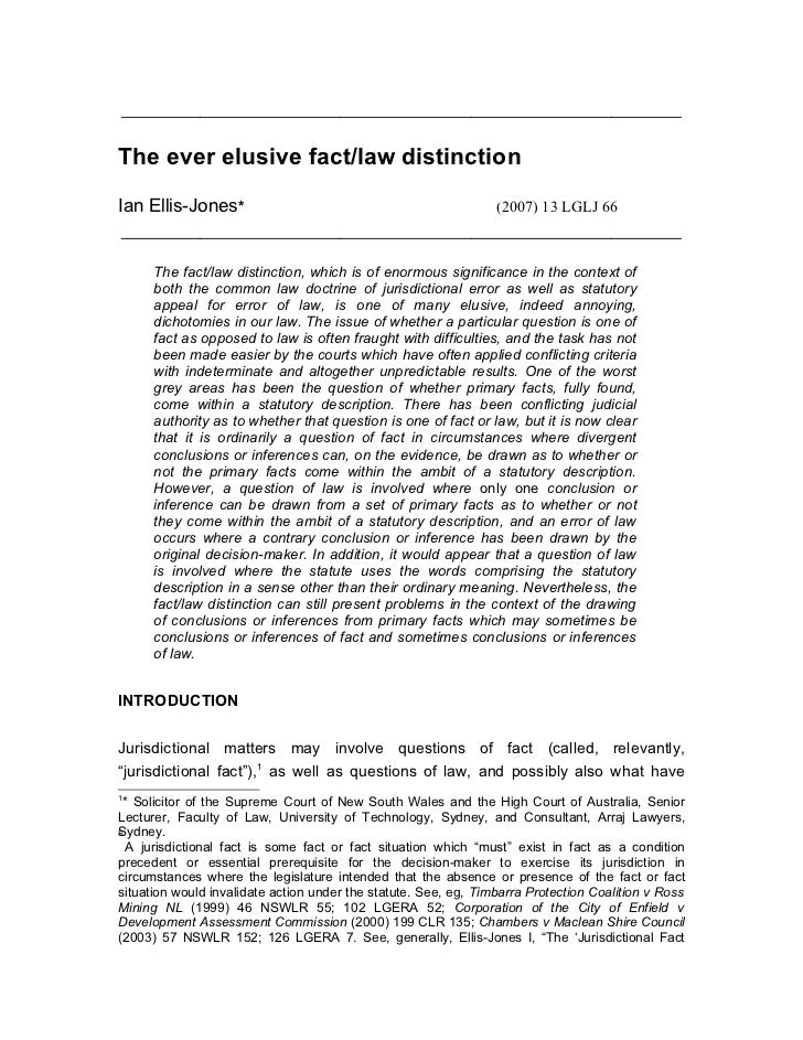 the ever elusive fact law distinction ever elusive fact law distinctionian ellis jones