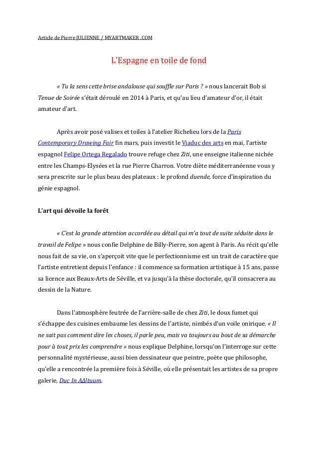 Article de Pierre JULIENNE / MYARTMAKER .COM L'Espagne en toile de fond « Tu la sens cette brise andalouse qui souffle sur...