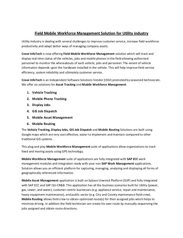 Field Mobile Workforce Management Solution For Utility