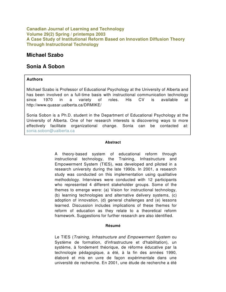 Canadian Journal of Learning and Technology<br />Volume 29(2) Spring / printemps 2003<br />A Case Study of Institutional R...
