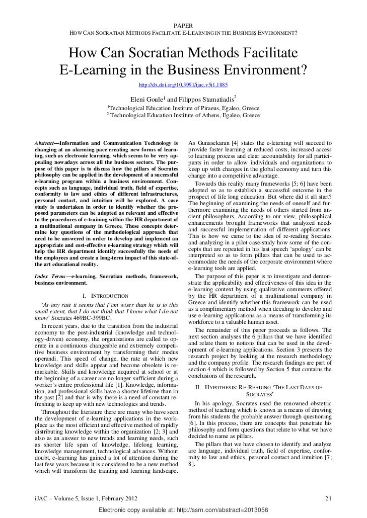 PAPER              HOW CAN SOCRATIAN METHODS FACILITATE E-LEARNING IN THE BUSINESS ENVIRONMENT?           How Can Socratia...
