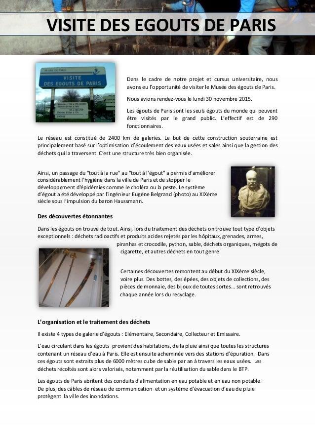 Dans le cadre de notre projet et cursus universitaire, nous avons eu l'opportunité de visiter le Musée des égouts de Paris...