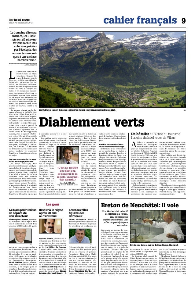 cahier français 9htr hotel revue No 36 / 5 septembre 2013 Les gens Le Comptoir Suisse se sépare de son directeur Christoph...