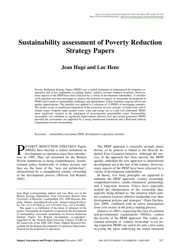poverty reduction strategy paper Water supply and sanitation in poverty reduction strategy papers in sub -saharan africa: developing a benchmarking review and exploring the way forward this paper pr ovides an assessment of the coverage of water and sanitation in prsps in sub.