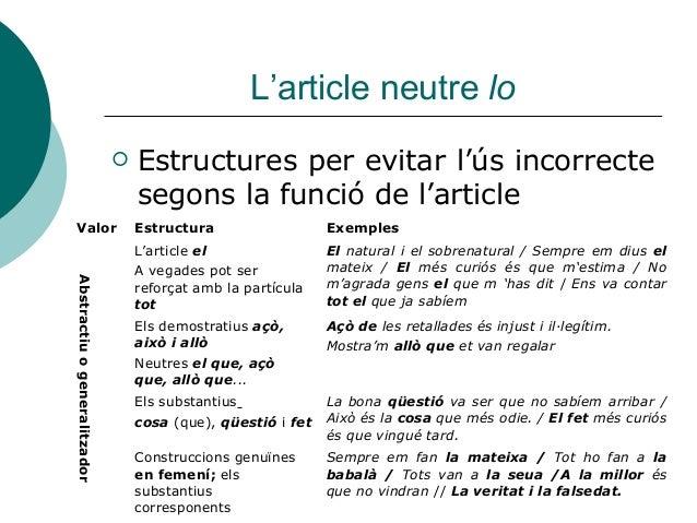 L'article neutre lo                                 Estructures per evitar l'ús incorrecte                               ...