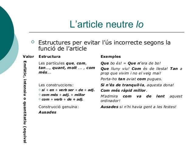 L'article neutre lo                                                Estructures per evitar l'ús incorrecte segons la      ...