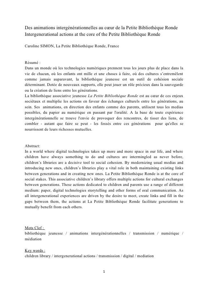 Des animations intergénérationnelles au cœur de la Petite Bibliothèque RondeIntergenerational actions at the core of the P...