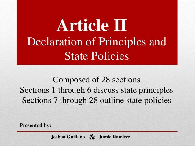 section 23 24 of declaration of principles and state policies Declaration of principles • a democratc and republican state • sovereignty of filipino people (thru sufrage) section 1 declaration of principles • renounces war as an act defense • adheres to the accepted principles of int'l law section 2 this preview has intentionally blurred.