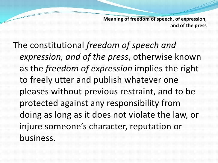 freedom of speech and expression and responsibility