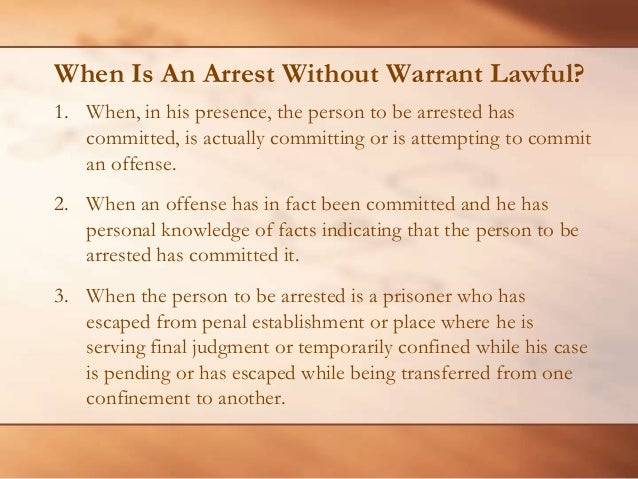 what is arrest without warrant