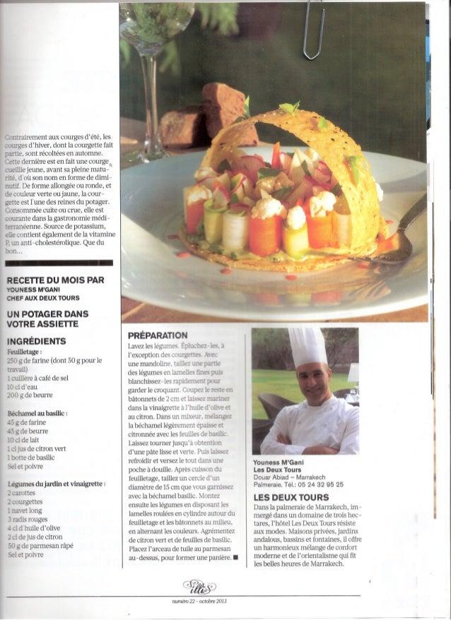 Article Chef Youness M'Gani - Les Deux Tours paru dans illi Octobre 2013