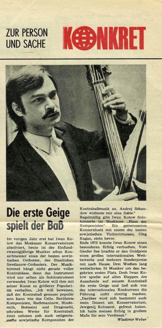 Ivan Kotov: KONKRET: Die erste Geige spielt der Bass. Interview with Ivan Kotov