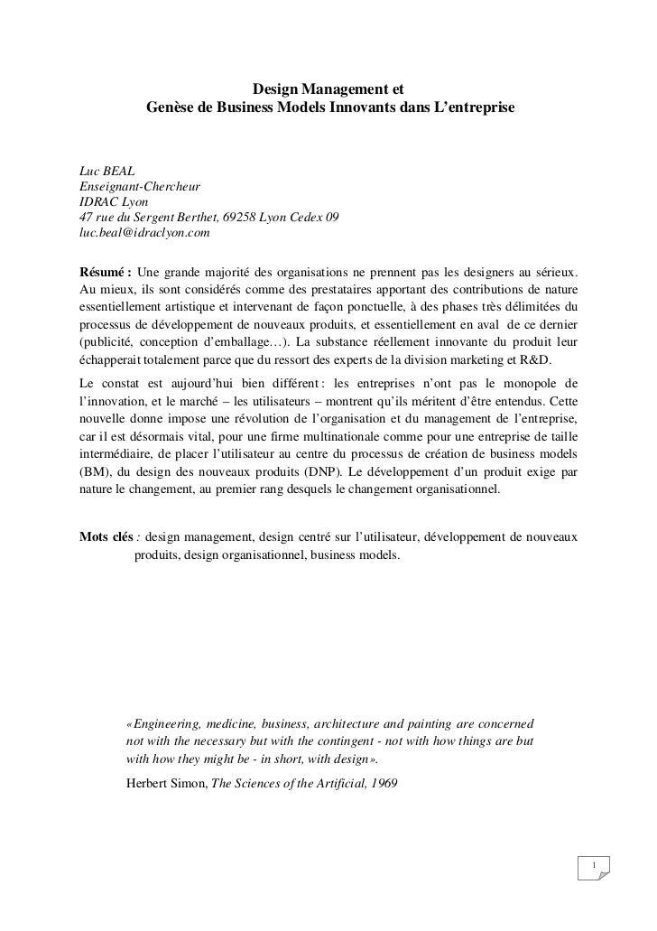 Design Management et            Genèse de Business Models Innovants dans L'entrepriseLuc BEALEnseignant-ChercheurIDRAC Lyo...