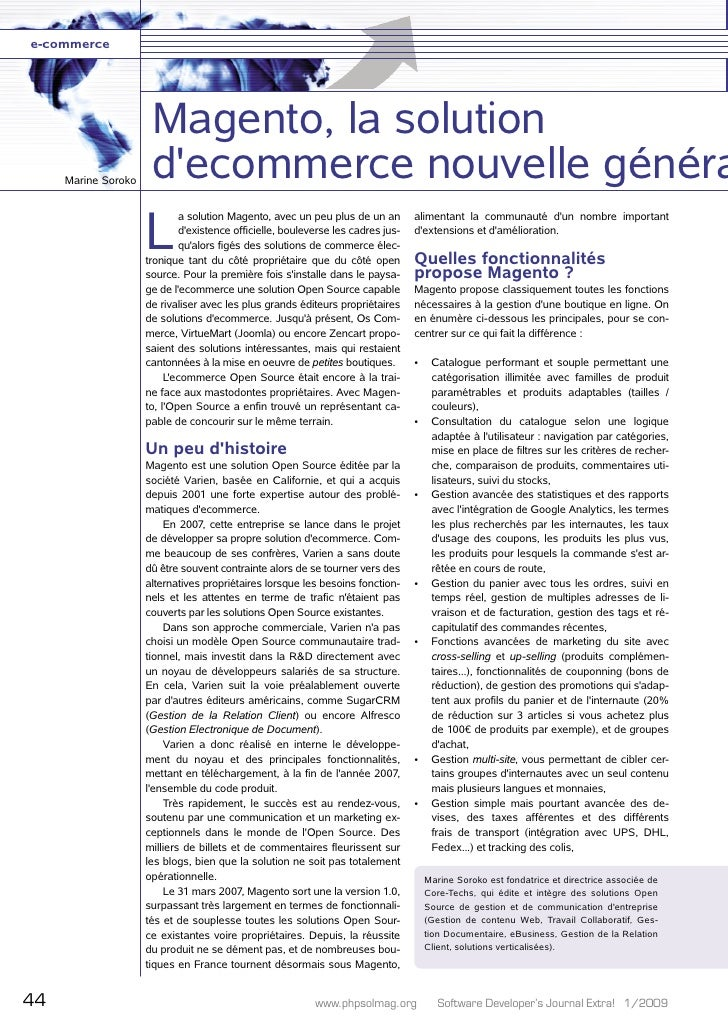 e-commerce                           Magento, la solution      Marine Soroko                       d'ecommerce nouvelle gé...