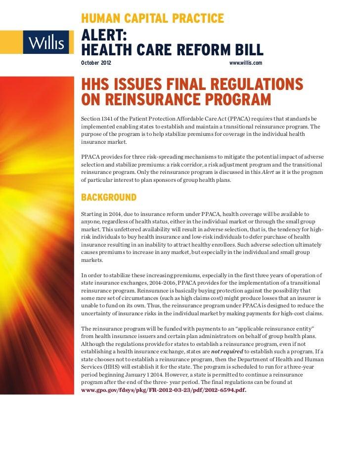 HUMAN CAPITAL PRACTICEALERT:HEALTH CARE REFORM BILLOctober 2012                                                  www.willi...