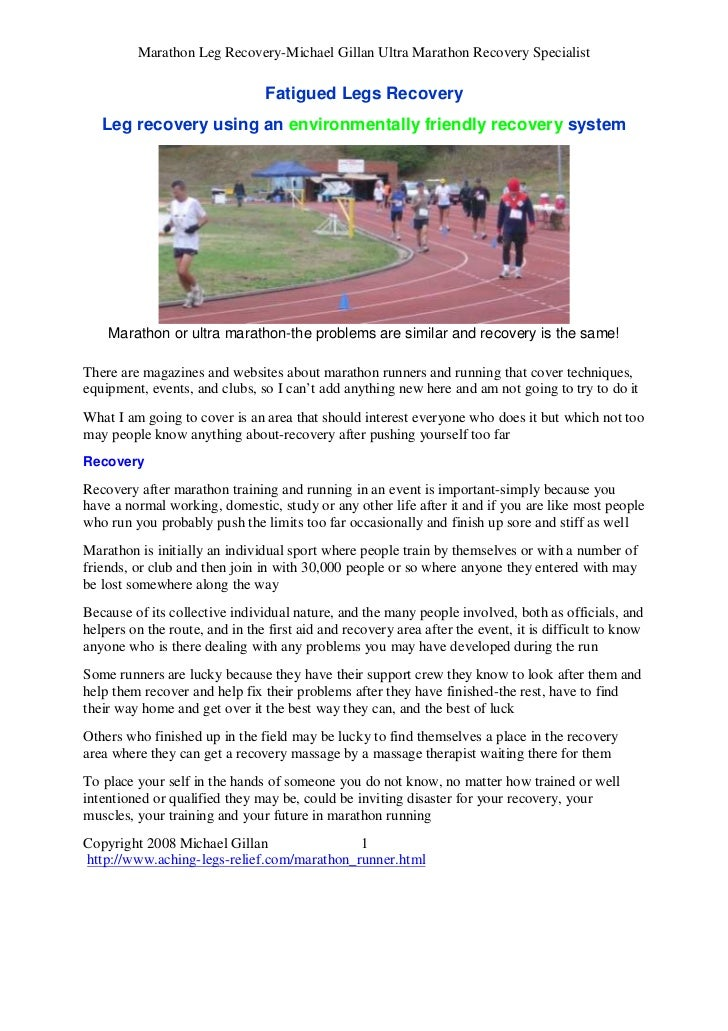 Marathon Leg Recovery-Michael Gillan Ultra Marathon Recovery Specialist                                Fatigued Legs Recov...