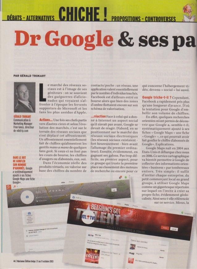 Article Google+ dans Marianne du 5 octobre