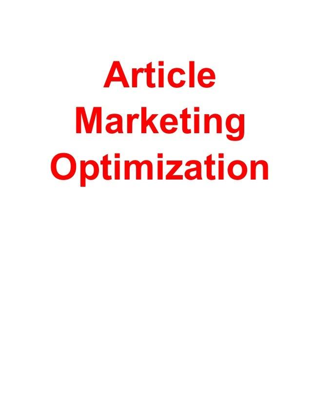 Article MarketingOptimization           -1-