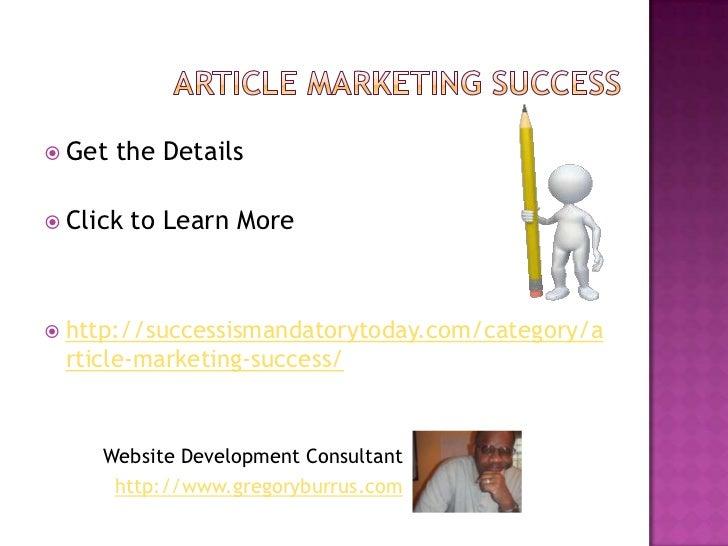 Article marketing success tips Slide 3