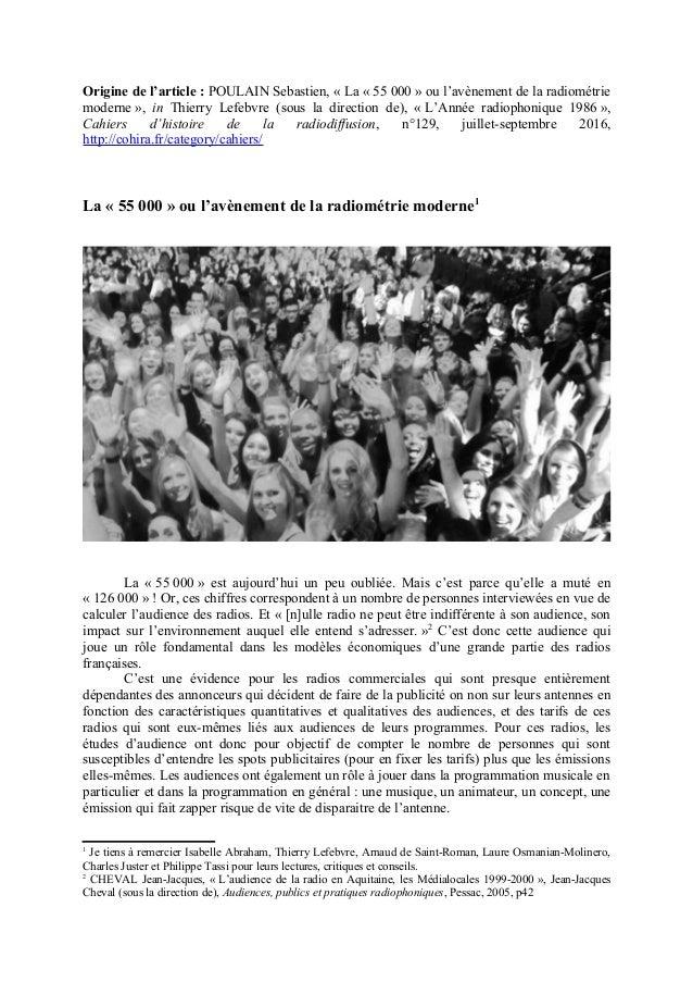 Origine de l'article : POULAIN Sebastien, « La « 55 000 » ou l'avènement de la radiométrie moderne », in Thierry Lefebvre ...