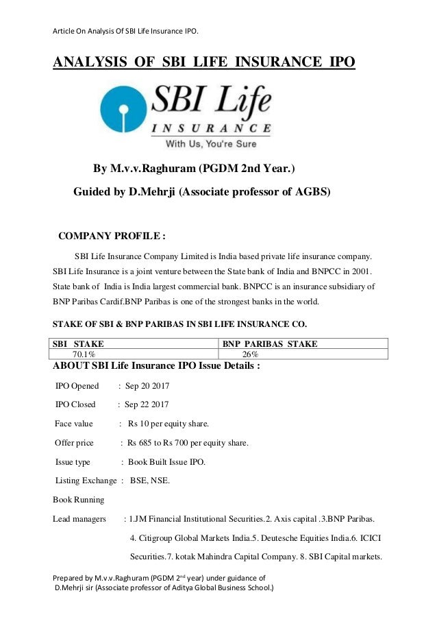 Sbi life insurance limited ipo