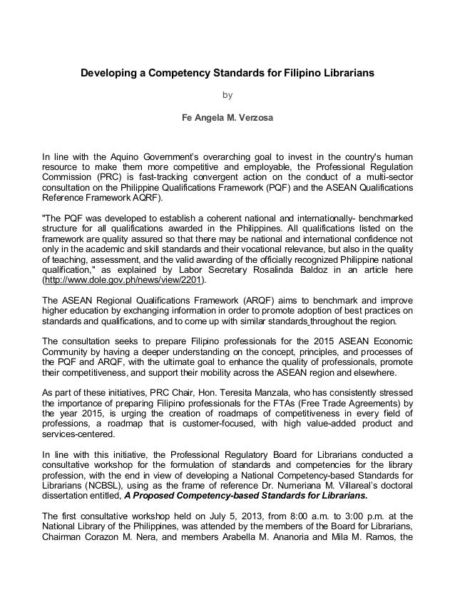 Sample Letter Of Professional Competency. Developing a Competency Standards for Filipino Librarians by Fe Angela M  Verzosa In line with Ang