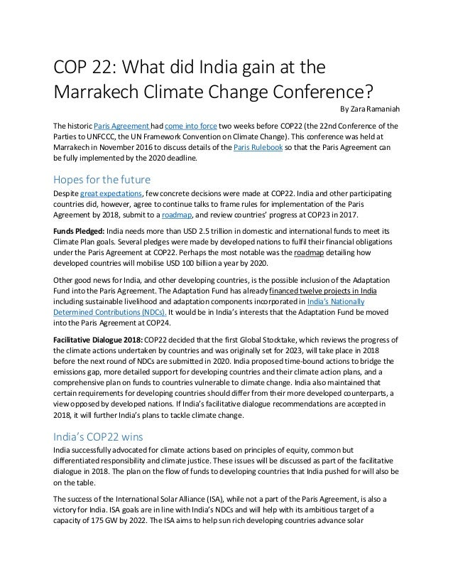 Cop 22 what did india gain at the marrakech climate change conferenc cop 22 what did india gain at the marrakech climate change conference platinumwayz