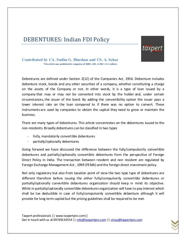 DEBENTURES: Indian FDI PolicyContributed by CA. Sudha G. Bhushan and CS. A. Sekar              This article was published ...